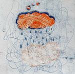 Es rähnt_3, Monotypie, Mischtechnik, 2017, 14x12