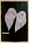 papillon, Collage auf Buchseite auf Fotokarton 2019, 24x18