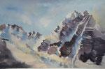 Stubaital, Schlicker Scharte m. Seespitze,36x51 cm, gerahmt 60x80