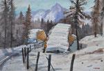 Winter auf der Faschingalm in Lienz, 36x51 cm, gerahmt 60x80
