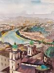 Sicht Festung Hohen Salzburg Ri Dom I  36x51 gerahmt 60x80