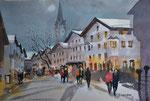 Kitzbühel Vorderstadt bei Dämmerung, 36x51 cm, gerahmt 60x80