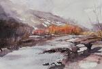 Isel in Oberlienz im Winter  36x51 cm, gerahmt 60x80