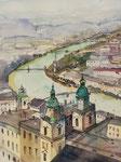 Sicht Festung Hohen Salzburg Ri Dom, 36x51 cm, gerahmt 60x80