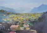 Sicht von Volders in Richtung Innsbruck mit Martinswand, 36x51