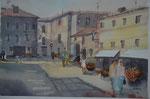 In Asciano, Toskana,  36x51 cm, gerahmt 60x80