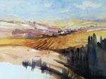 Getreidelandschaft in der Toskana, 52x36 cm, gerahmt 60x80