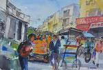 Marktstraße in Delhi, 36x51 cm, (gemalen während OlympicArt 2019)