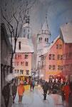 Kitzbühel, Vorderstadt bei Dämmerung, 36x51 cm, gerahmt 60x80