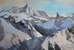 Großglockner aus Sicht Osttirol, 36x51cm, gerahmt 60x80