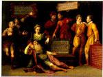 Het Raadsel van Nijmegen, 1576, (onterecht) toegeschreven aan Cornelis Ketel, Museum Het Valkhof. Ongewijzigd, Publiek Domein: vrij van bekende auteursrechtaanspraken. Printscreen van collectiegelderland.nl