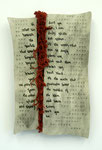 Beneath the Surface (2011) printed and stitched leather over wood, and torn linen fabric, 25 x 15 x 2.5 inches