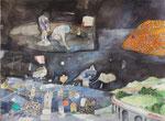 - Die Pfütze-(2012) 55x75 Aquarellfarbe und Collage auf Saunders Waterford Bütten