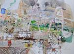 -Sollte es sich noch lohnen - (2007) 55x75 Aquarell,Tusche ,Blister und Buntstift auf Saunders Waterford Bütten