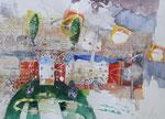 -Ein Haus voller Hoffnung- (2005) 55x75 Aquarell,Tusche ,Blister und Buntstift auf Saunders Waterford Bütten