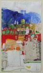 -AG Hühnerzucht-(2005)  32x18 Aquarellfarbe ,Tusche ,Buntpapier