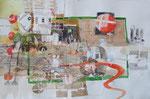 -Träumende rote Punkte-(2006) 37,5x56,5 Aquarell und Collage