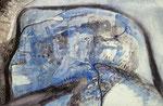 07.03.2017 -Wolkenburg im Schnee -Blaue Tinte,Sepiatusche, Aquarellfarbe ,Pinsel und Stahlfeder