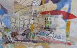 -Wogende Elbe,sächsisch übertrieben (2006) 55x75 Aquarell,Tusche ,Blister und Buntstift auf Saunders Waterford Bütten