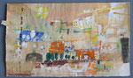 -Die übersehene Fahne auf der Lorelei -(2006) 38x64 Aquarell,Tusche ,Blister und Buntstift Packpapier