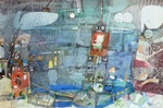 -Die Furt-(2014) (37,5x56,5)  Aquarellfarbe und Tusche (37,5x56,5)