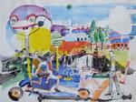 - Jahrmarktsfreuden - (2002) 55x75 Aquarell,Tusche ,Blister und Buntstift auf Saunders Waterford Bütten