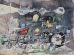 -Eine etwas größere Störung-(2012) 55x75 Aquarellfarbe und Collage auf Saunders Waterford Bütten