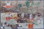-Blatt für Bonn- (2004) 55x75 Aquarell,Tusche ,Blister und Buntstift auf Saunders Waterford Bütten