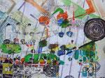 -Drei Peitschenlampen und Wiesenwalzen - (2004) 55x75 Aquarell,Tusche ,Blister und Buntstift auf Saunders Waterford Bütten