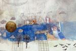 15.03.2017 Wintermond und Saatkrähen- Aquarellfarbe ,Pinsel und Bleistift auf Schoellershammer -Bütten (42cmx62cm)