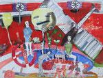 -Der Absturz- (2002) 55x75 Aquarell,Tusche ,Blister und Buntstift auf Saunders Waterford Bütten