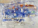 -Fliesenlegerträume-(2016) 55x75 Aquarellfarbe und Collage auf Saunders Waterford Bütten