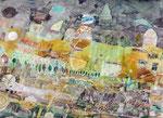 - Sommergähnen- (2008) 55x75 Aquarellfarbe,Tusche ,Blister und Buntstift auf Saunders Waterford Bütten