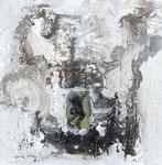Prinzendenkmal 4, Arcylfarbe, Sand, Marmormehl, Relief Froschabdruck, auf Lw. 50 x 50 cm