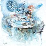 Quo vadis 1, Acrylfarbe, Sand, Holz, Insekt in Polyesterglas, Laserdruck, Zeichenstift auf Lw. 80 x80 cm