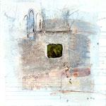 Gedankenarchäologie 2/Prinzengrab,  Acrylfarbe, Marmormehl, Jutefragmente, konservierter Frosch in Polyesterglas, Bleistift auf Lw. 50 x 50 cm