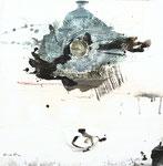 Gedankenarchäologie 5,  Acrylfarbe, Marmormehl, Jutefragmente, Perlmuttschneckenfragment in Polyesterglas, Bleistift auf Lw. 50 x 50 cm
