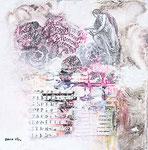 Quo Vadis 2, Acrylfarbe, Sand, PC-Fragment, Laserdruck, Zeichenstift auf Lw. 40 x 40 cm