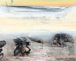DIE GEDANKEN SIND FREI, Acrylfarbe, Druck, Zeichenstift auf Lw., 80 x 100 cm