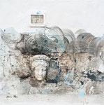 Gedankenarchäologie mit Hera, Arcylfarbe, Sand, Stuck, Insekt in Polyesterglas, 50 x 50 cm
