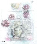 Aphrodite mit Rosen, Acrylfarbe, Holz, Laserdruck, Zeichenstift auf Lw., 60 x 50 cm
