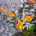 「水鏡〜木の葉の舞い〜」/92×92㎝/ アクリル、パネル、綿布
