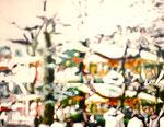 「日ようびのメロディ」/6F/ アクリル、パネル、綿布