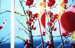 「赤実のその先〜梅の都にて〜」/ 116×27㎝ 116×144㎝ /アクリル、パネル/ 2006