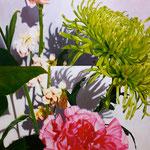「花の影遊びⅠ」/92×92㎝/ アクリル、パネル、綿布