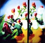 「赤実の目覚める瞬間」/ 162×162㎝ / アクリル、パネル/ 2006