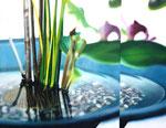 「水鏡〜静かなる波紋〜」/10P/ アクリル、パネル、綿布