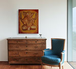Ganesha  part 6   40 cm x 60 cm Leinwand auf Keilrahmen, Acryl, Rötel