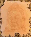 Buddha - the golden 50 cm x 60 cm Leinwand auf Keilrahmen, Rötel auf Acryl