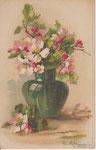 GOM 1818 vase vert de fleurs de pommiers